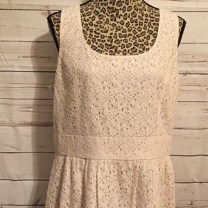 ANN TAYLOR LOFT IVORY LACE DRESS SIZE 14